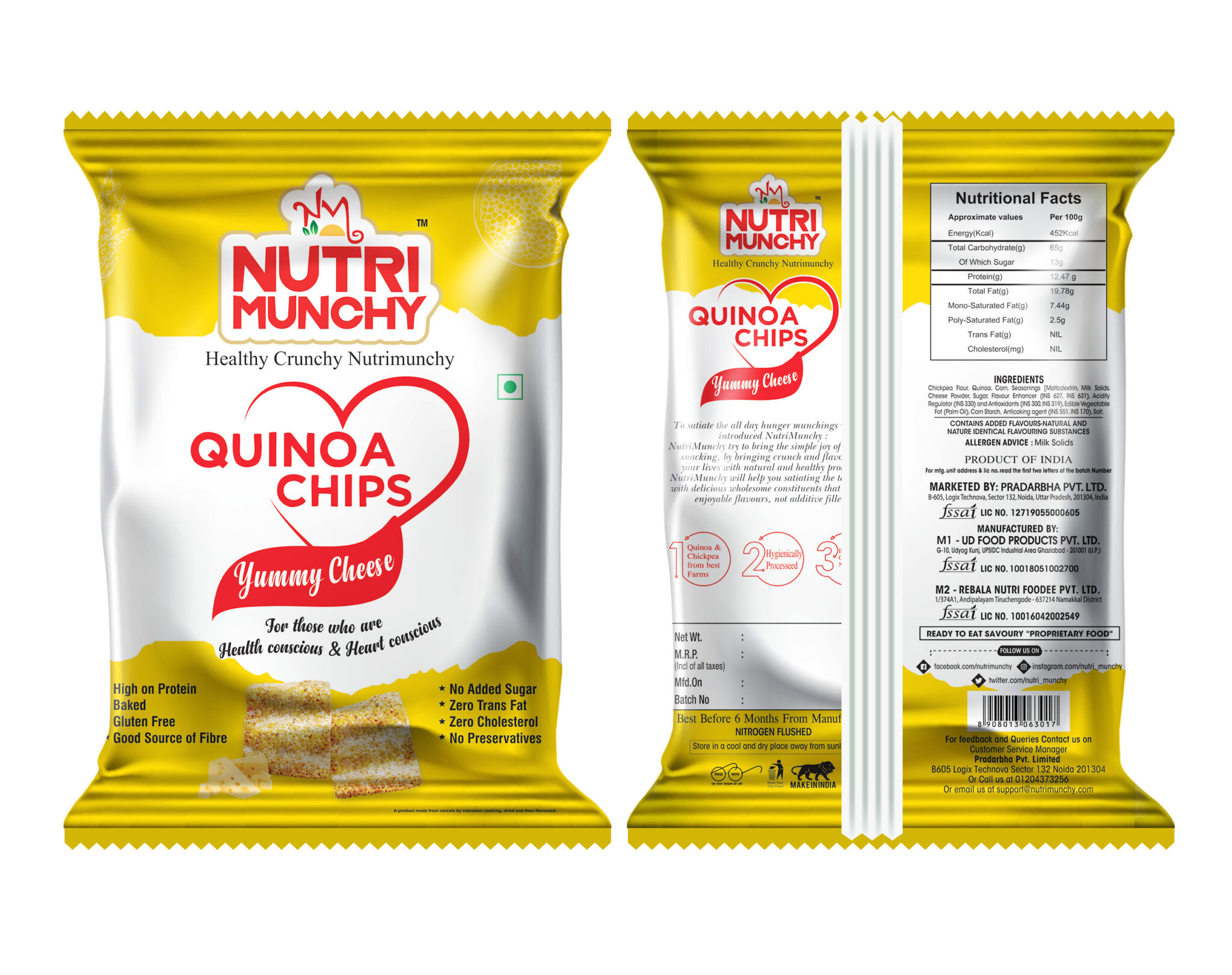 Nutrimunchy Quinoa Chips Yummy Cheese